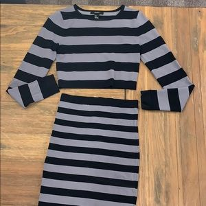 Body con skirt and crop top set striped